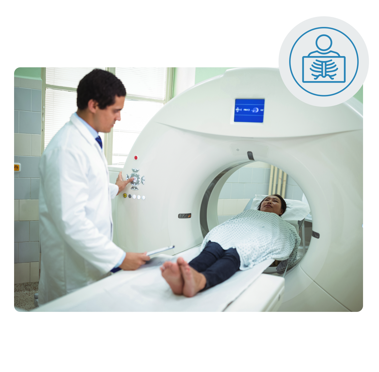 Woman receiving diagnostic imaging with male physician present for care