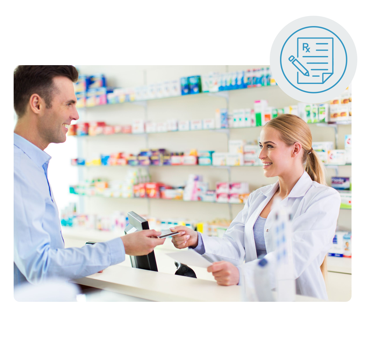 Female pharmacist in lab coat smiling and receiving credit card from male customer